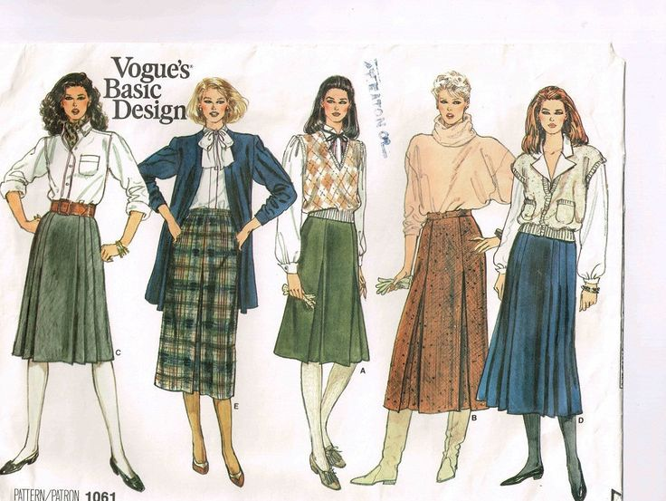"Uncut Vintage 1985 Vogue Skirt Pattern #1061, Basic Design, Sizes 14, 16, 18, Waist 28 - 32"" (71 - 81 cm) Slight A - Line , Pleat Variations by TheShoppingMoll on Etsy"