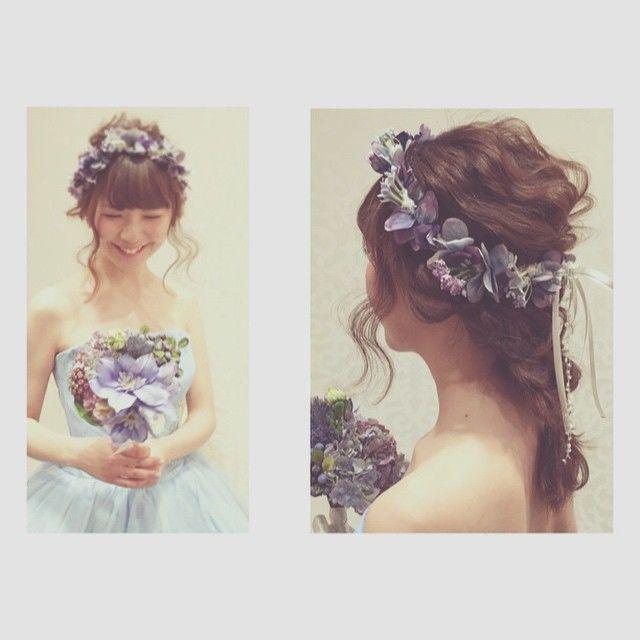 * * @stri3 の 花冠 & ブーケ ステキですよー #ヘアアレンジ #ウェディング #wedding
