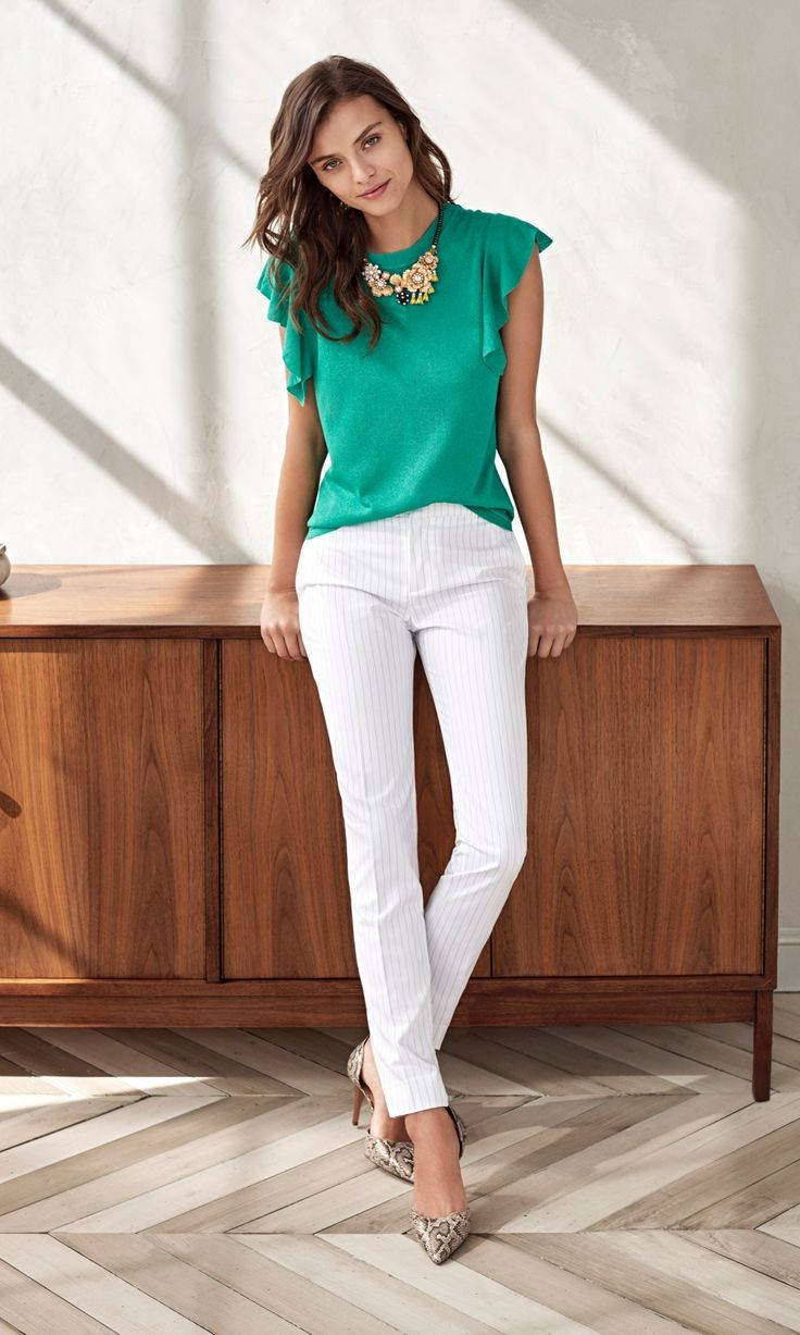 Add a pop of color with feminine details to your style with our flutter sleeve linen teal blouse. Wear thus top with a white pant and pumps for a casual yet polished look | Banana Republic