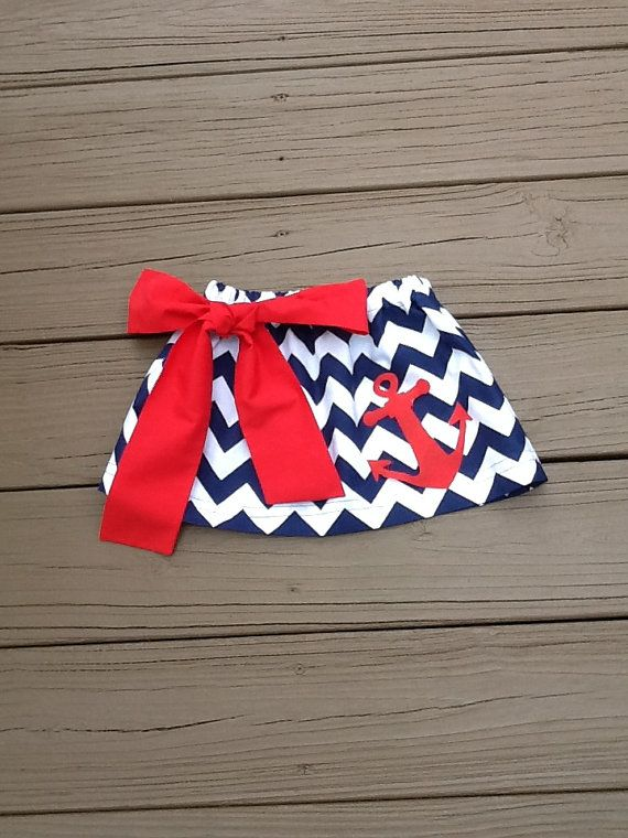 Girls 4th of July Patriotic twirly skirt & fabric bow. Navy white chevron. red anchor applique. Children's clothing By EverythingSorella on Etsy, $32.50