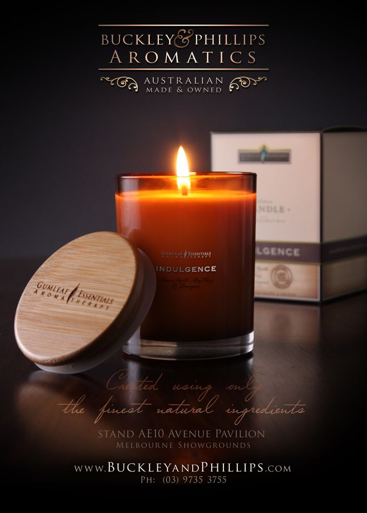 Aromatherapy candle - Full page advert in AGHA trade fair catalogue magazine. July 2015