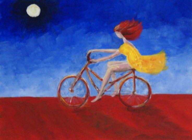'Dunedoo bike rider' Acrylic on canvas, 41cm x 31cm