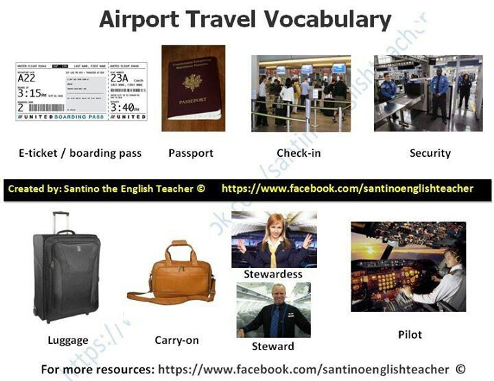 English vocabulary - airport travel.