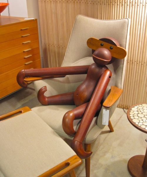 An original Kay Bojesen teak ape (one of only seven in the world!), made in Denmark, c.1950s, as featured in the Wyeth boutique.