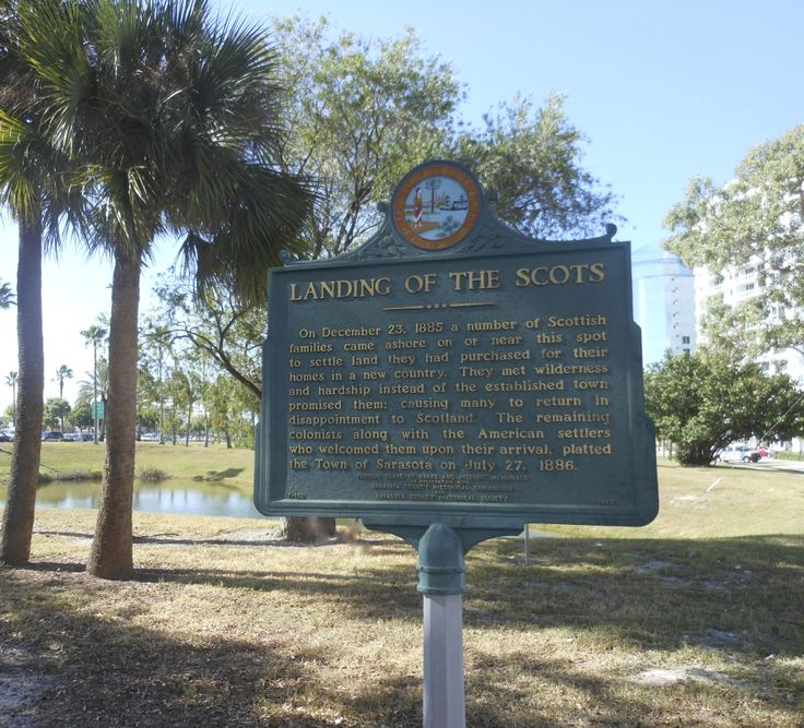 Historic marker at the corner of Main St. & Gulfstream Ave at the point of landing in 1885 of the Scot founders of the City of Sarasota