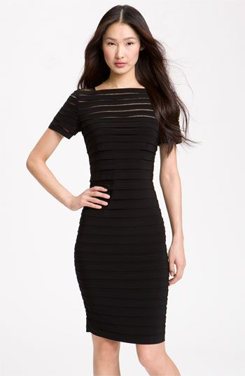Adrianna Papell Illusion Bodice Pleated Jersey Sheath Dress (Regular & Petite) available at #Nordstrom