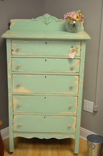 Brightly colored shabby chic Dresser. $250.00, via Etsy.