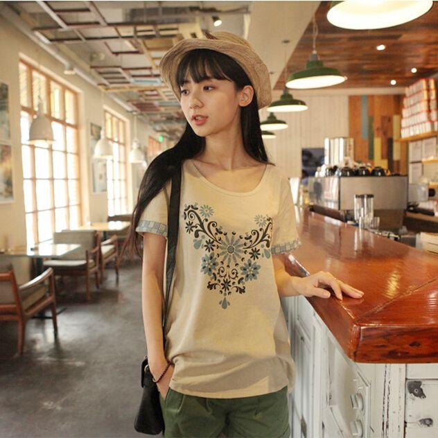 Винтаж женщин футболка с коротким щипцы для завивки длинным рукавом шею женская футболка синий широкий топы хлопок футболка женская одежда