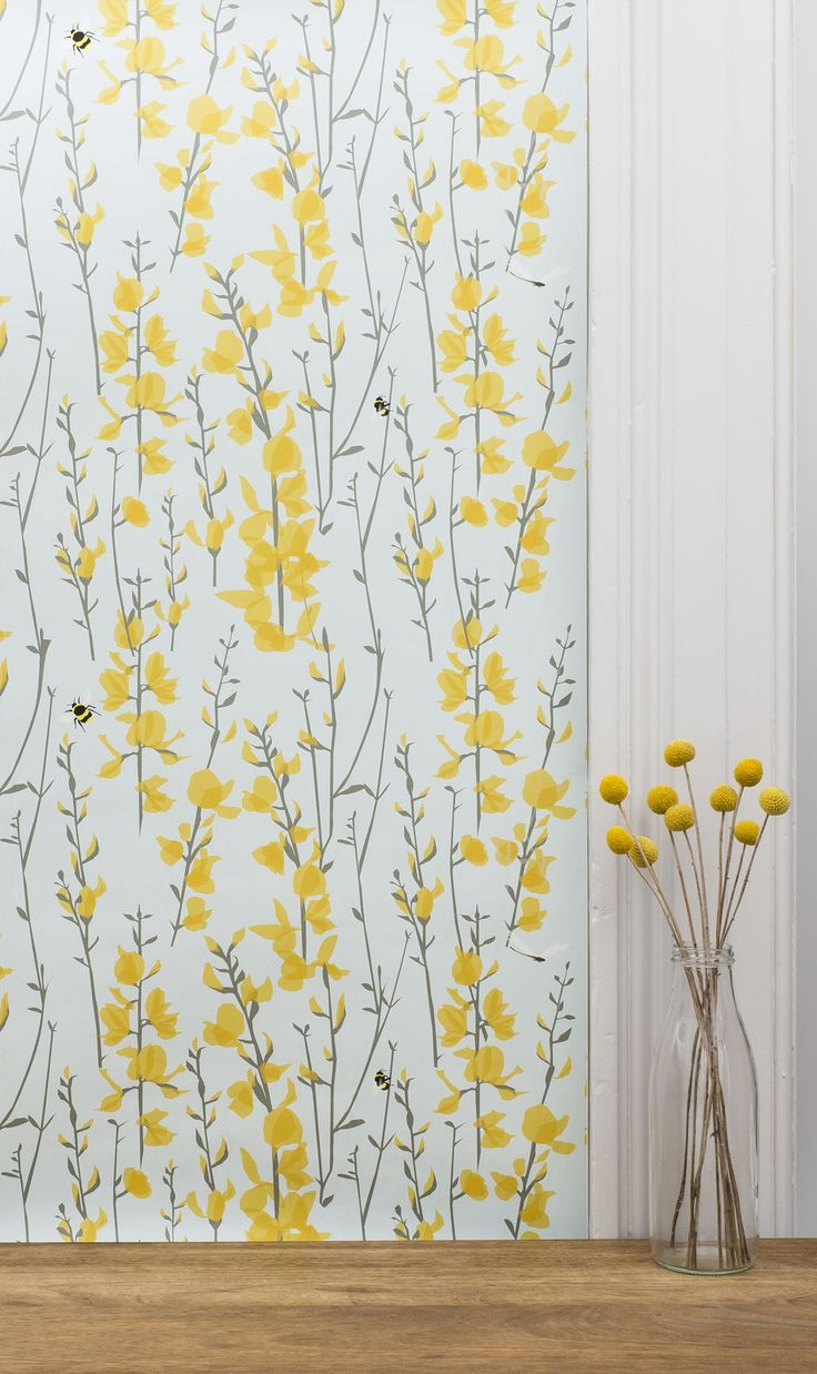 Lorna Syson | Broom & Bee Wallpaper | Fresh and floral contemporary wallpaper design. Wildlife inspired, blue and yellow print with hidden bees within the print. Ask for a sample from via the www.lornasyson.co.uk