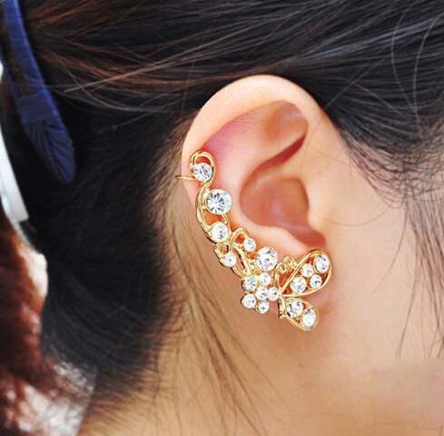 Gold/Silver Crystal Butterfly ear cartilage earring Ear Cuff Earring Wrap Clip Earring Fashion Party Jewelry