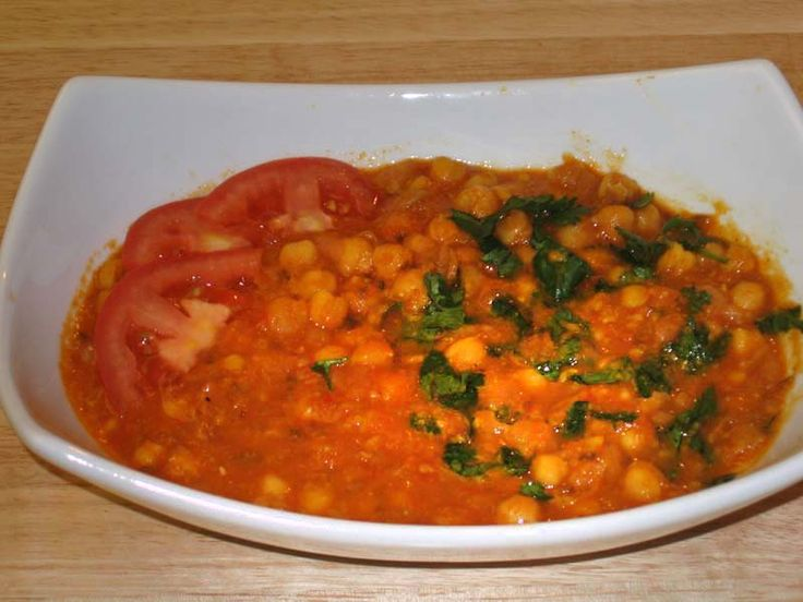 Chickpea tomato masala concoction  Editors note: This was so delicious! The flavors were incredible. I omitted the oil (just dry roast the spices), asofetida and cilantro (too lazy to chop it...)