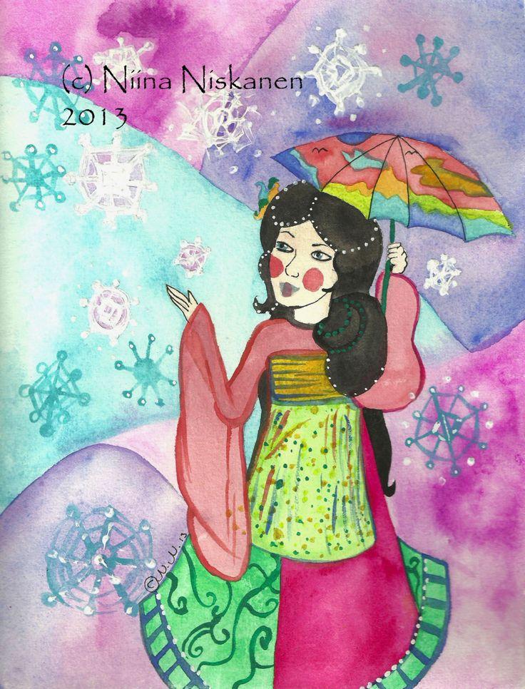 Winter Geisha Painting Original Fantasy Art Soft Colors Geisha Snowflakes Winter Spring Watercolor Illustration Art by Niina Niskanen
