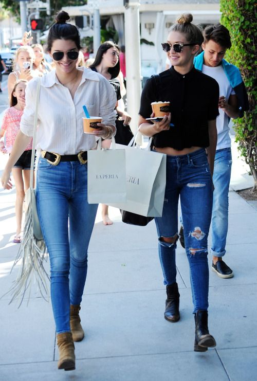 Kendall and Gigi looked so chic in matching denim and button-ups. Find yourself some high ...