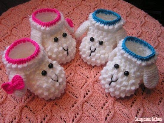 Lamb Crochet Bobble Booties Free Pattern