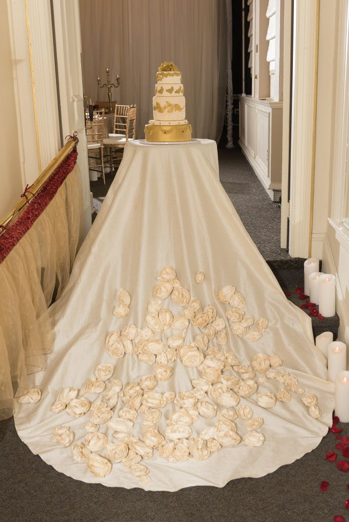Bespoke The Wedding Event, Regal Red & Gold Wedding, Wedding Cake, Edible Cake Florals, Cake Table Dress