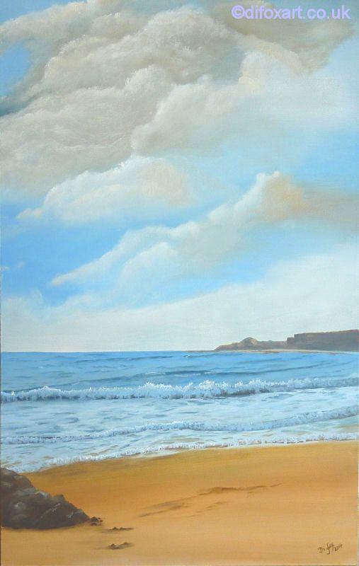 Runswick Bay oil painting by Di Fox