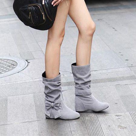 Fashion Round Toe Bow Tie Wedge Low Heel Slip On Beige Short PU Cavalier Boots picture 3