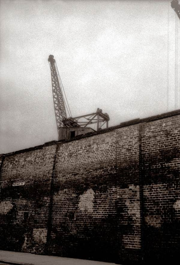 Dock wall on Preston Rd, Isle of Dogs, 1982. Photo by John Claridge