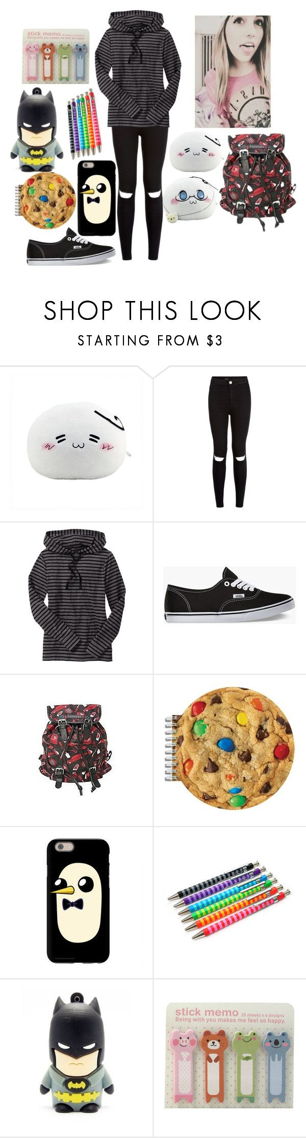 """""""School"""" by wonders-of-the-world ❤ liked on Polyvore featuring New Look, Old Navy, Vans, Hot Topic, Iscream and OHTO"""