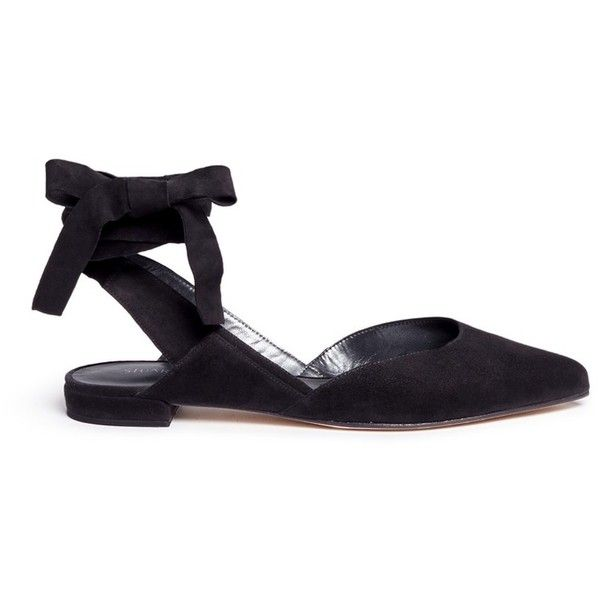 Stuart Weitzman 'Supersonic' wraparound ankle tie flats (3 605 SEK) ❤ liked on Polyvore featuring shoes, flats, black, ankle wrap flats, ankle wrap ballet flats, ballet flat shoes, flat shoes and ballerina flats