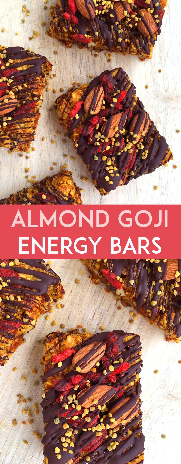 These grain-free Almond Goji Energy Bars are made of just nuts, fruit, coconut, eggs and love! (Drizzle with unsweetened chocolate if desired). All clean eating ingredients so pin this healthy energy bar recipe for later!