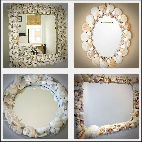 Espelhos com conchas marinhas