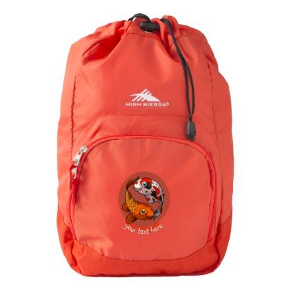 Two Koi Carp Friends Swimming Cartoon With Caption High Sierra Backpack - golden gifts gold unique style cyo