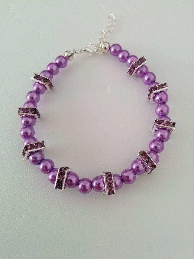 Ladies Purple Beaded Bracelet £5.99
