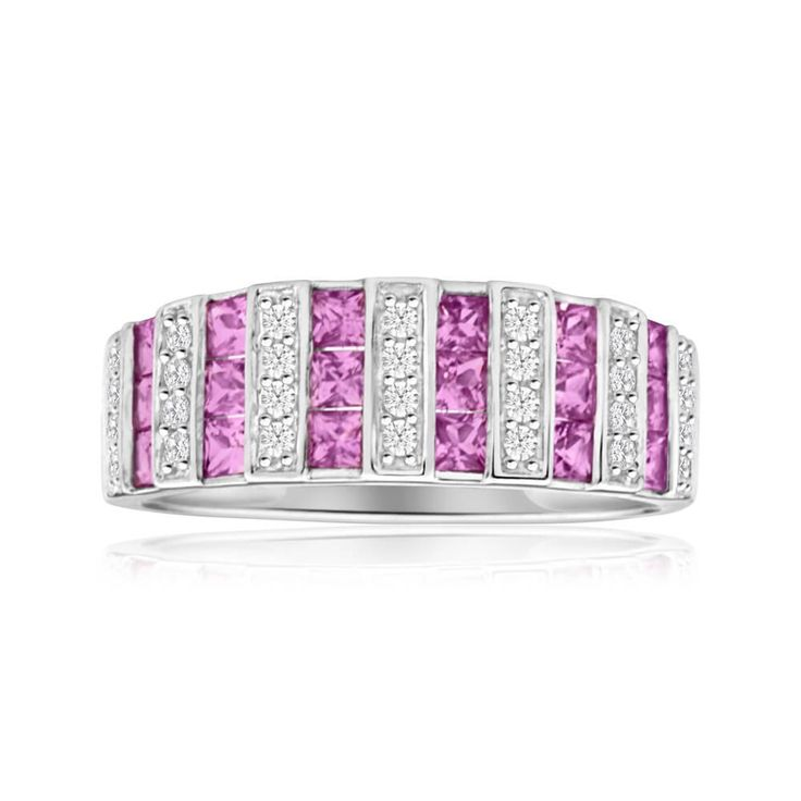 Vibrant pink Sapphire and Diamond Ring in 9ct Gold. Perfect as a cocktail ring for those nights out on the town