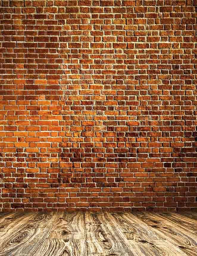 Retro Red Brick Texture Wall With Wooden Floor Backdrop