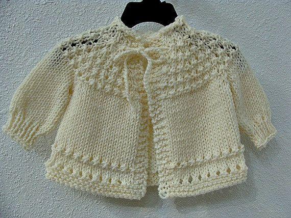 Hand Knitted Baby Sweater Cream.