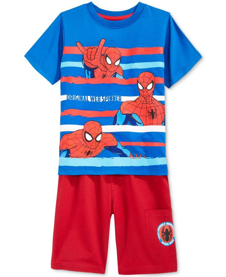 Nannette Spiderman 2-Pc. Shirt & Shorts Set, Toddler & Little Boys (2T-7)