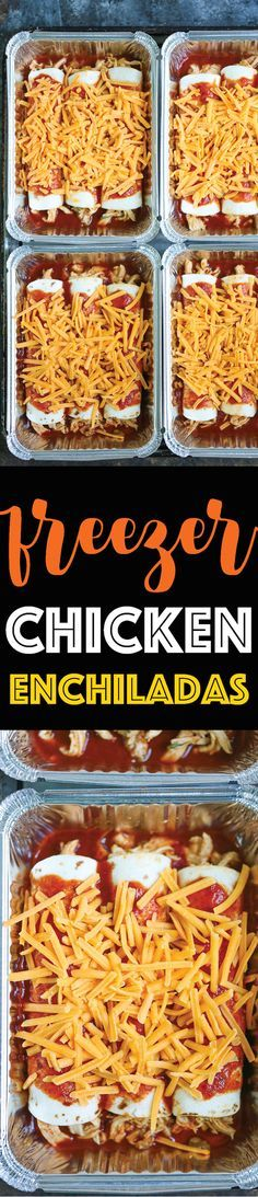 Freezer Chicken Ench Freezer Chicken Enchiladas - Simply assemble your enchiladas ahead of time and freeze. IT GOES STRAIGHT FROM FREEZER TO OVEN! No dishes required! Recipe : http://ift.tt/1hGiZgA And @ItsNutella  http://ift.tt/2v8iUYW