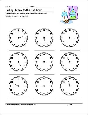 10 Worksheets to Help Your Child Tell Time By Half Hour