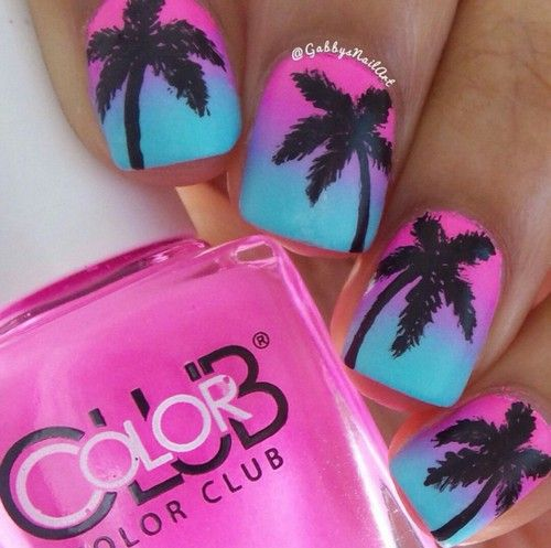 Imagen de nails, pink, and blue
