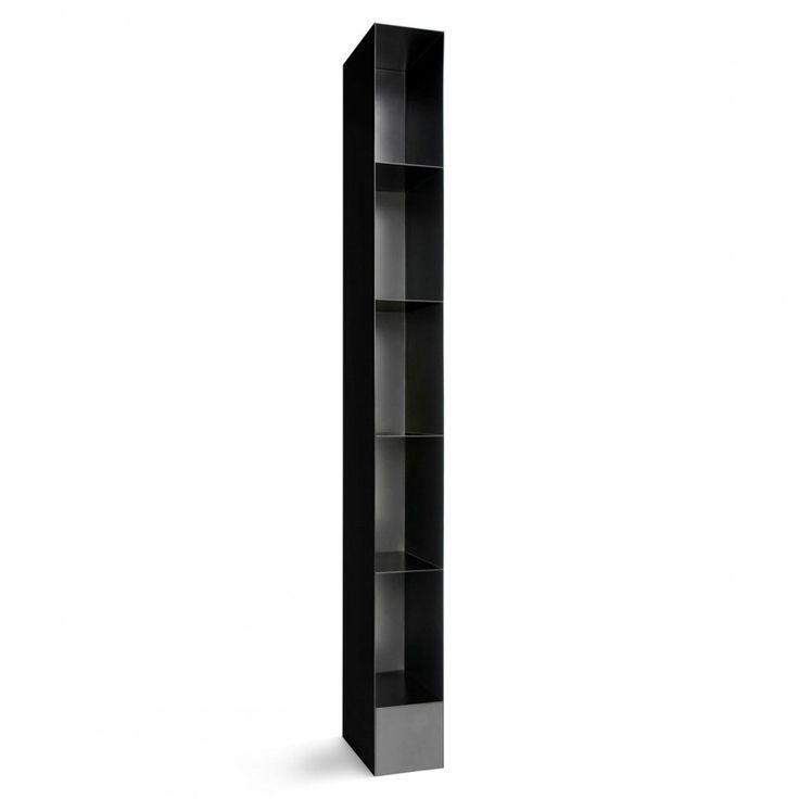 Bludot Totem Tall Narrow Bookcase Black
