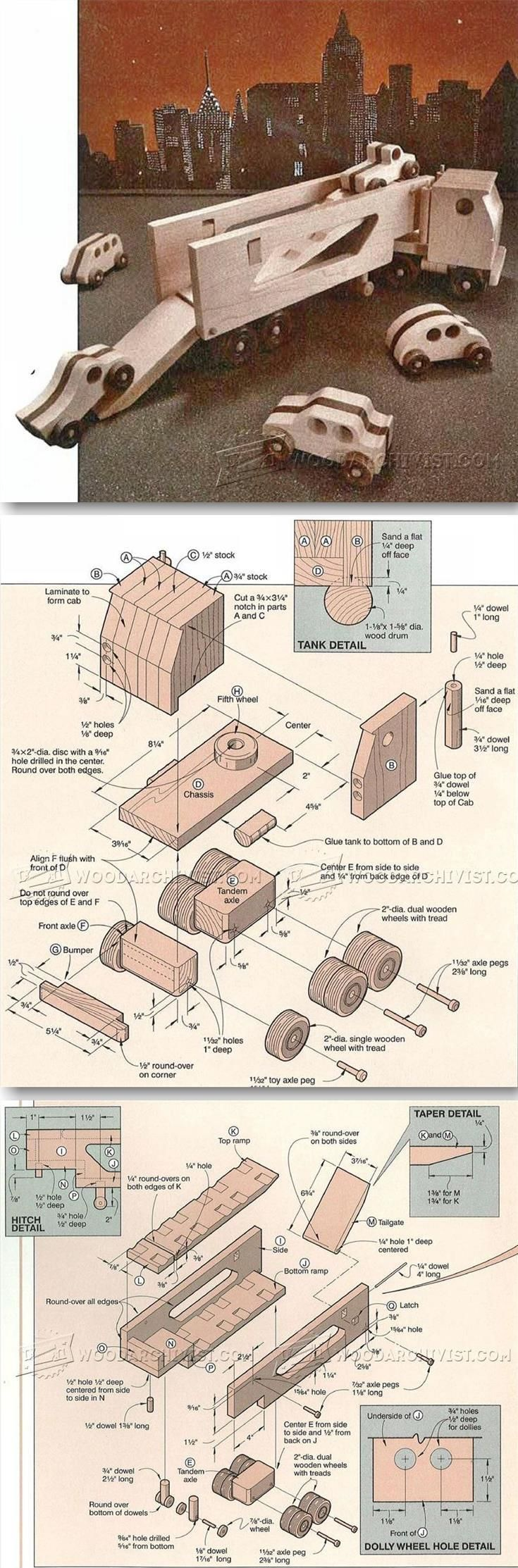 Wooden Toy Auto Transport - Children's Wooden Toy Plans and Projects   WoodArchivist.com