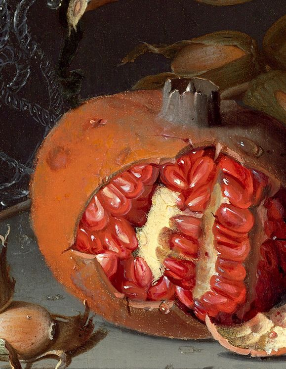 """POMEGRANATE~""""Still Life with Fruit"""" (details"""", 1675) Jacob van Walscapelle."""