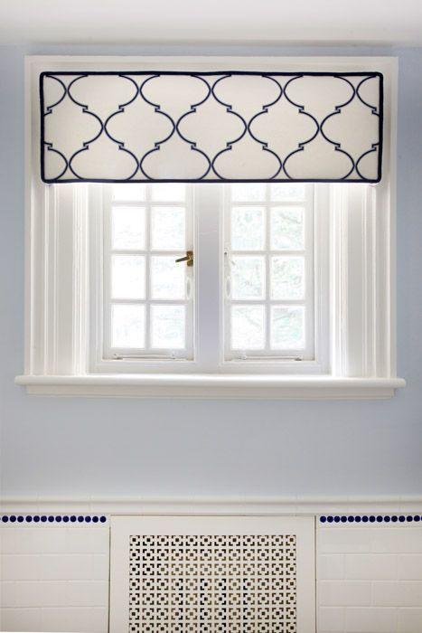 Navy souk trellis cornice window treatments pinterest for Window trellis design