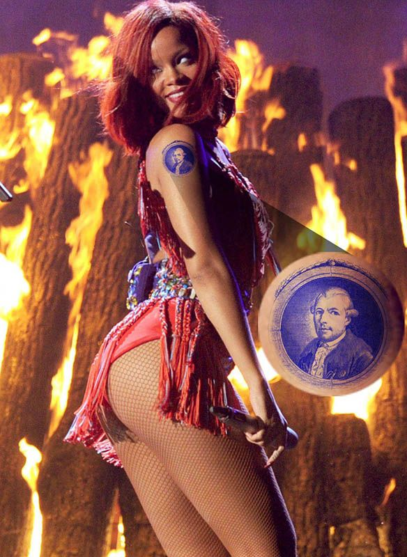Rihanna at a Grammy performance wearing a temporary tattoo of Illuminati founder Adam Weishaupt