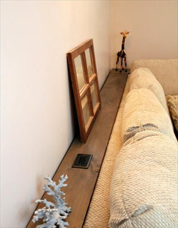 DIY Recycled Behind Sofa Table/Shelf   12 DIY Small Home Decor Projects |  NewNist