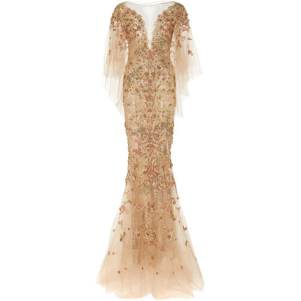 Marchesa     Beaded Mermaid Gown ($9,995) ❤ liked on Polyvore featuring dresses, gowns, marchesa, gold, butterfly sleeve dress, beaded gown, embroidery dresses, v neck dress and v neck evening dress