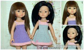 Описание летнего сарафан спицами для кукол типа Паола Рейна 32 см -  http://babiki.ru/blog/master/69376.html