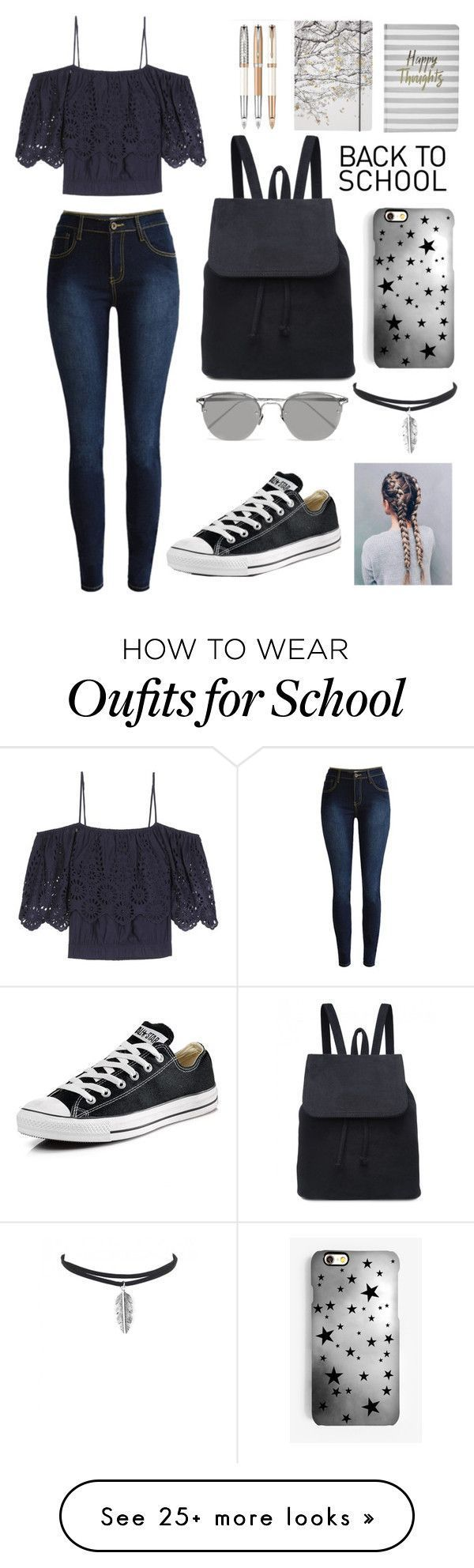 """""""Back To School Outfit"""" by kirsty-mckenzie44 on Polyvore featuring Ganni, Boohoo, Go Stationery, Converse, Rianna Phillips and Linda Farrow"""