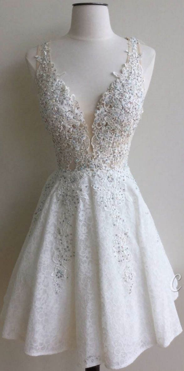 2016 white lace homecoming dress, party dress, cute homecoming dress