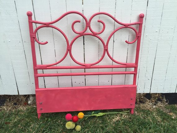 RATTAN PINK HEADBOARD Twin Bamboo Headboard Hot by agelessalchemy