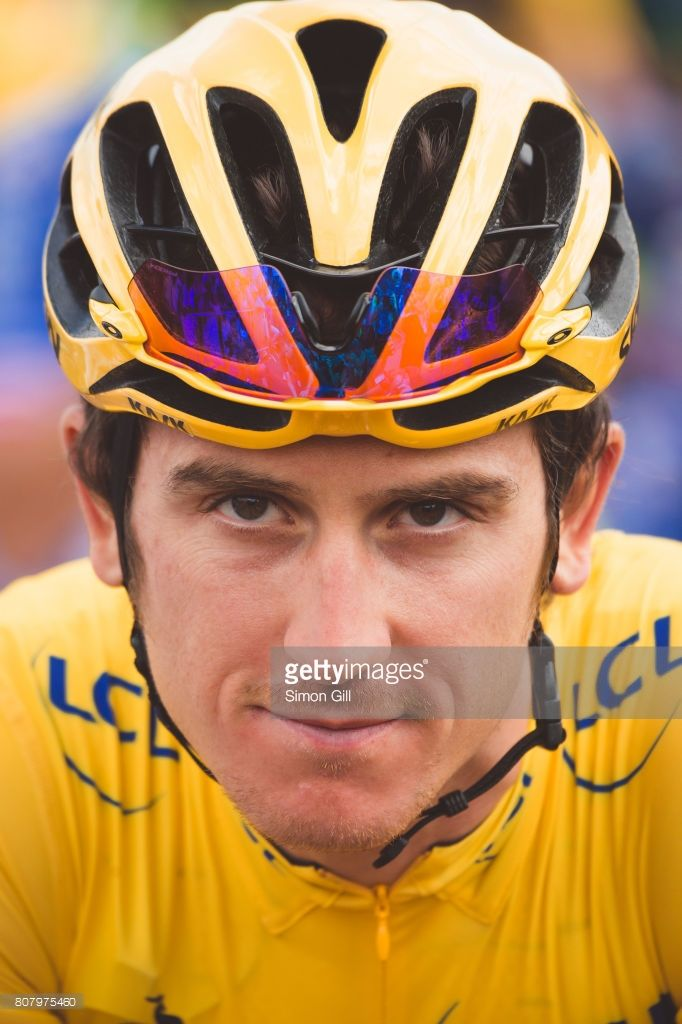 July 4th 2017, Mondorf les Bains to Vittel, France; Cycling, Tour de France Stage 4: Geraint Thomas in the leaders yellow jersey ahead of Stage 4.