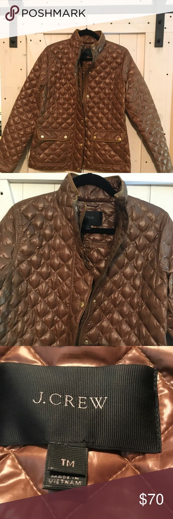"J.CREW Quilted Jacket Barely worn J.CREW jacket! I bought this online and was worried the arms would be too short, so I bought a Medium Tall which ended up being too big. I am 5'8"" for reference, so this is perfect for the taller ladies out there! I have worn this a few times but it really is like new. J. Crew Jackets & Coats Puffers"