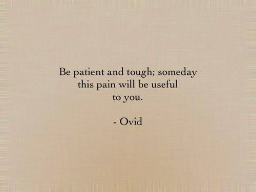 Be patient and tough; someday this pain will be useful to you. - Ovid