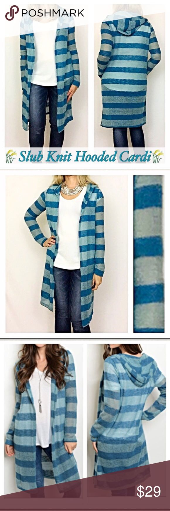 """Loose Knit Sweater Striped Hooded Lightweight S M Ahhh love a fun, cozy cardigan sweater❣️Such an adorable slub loose knit sweater 50% acrylic/50% polyester in striped shades of teal blue. Perfect with leggings or jeans. Hooded & lighweight. Be cute & cozy💙  Small 2/4 length 40"""" Medium 6/8 length Sweaters"""